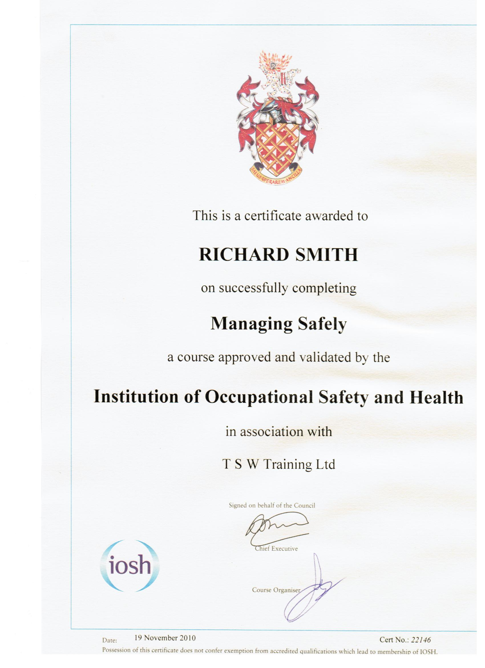 Richard Smith IOSH Managing Safely certificate